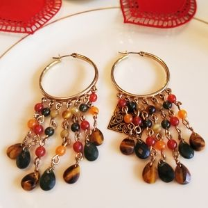 GOLD PLATED HOOP NATURAL STONE DANGLE EARRINGS